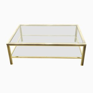 Two-Tiered Coffee Table with 23-Karat Gold Plating from Belgo Chrom, 1980s