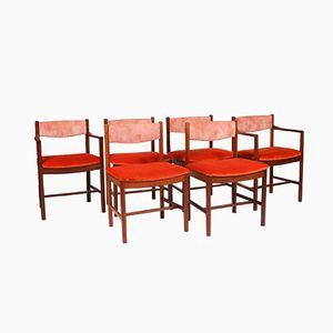 2 Armlehnstühle & 4 Esszimmerstühle in Teak, 1970er