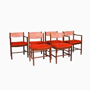 Set of 2 Armchairs & 4 Dining Chairs in Teak, 1970s