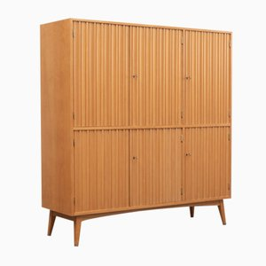 Ash Highboard with Grooved Doors, 1950s