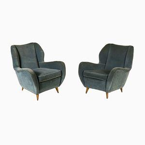 Italienischer Samt Sessel, 1950er, 2er Set