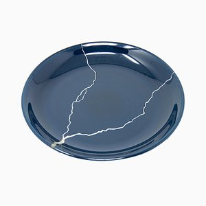 Tsukroi 2 Blue Urushi Lacquered Glass Plate by Kazuyo Komoda for Hands On Design