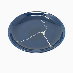 Tsukroi 3 Blue Urushi Lacquered Glass Plate by Kazuyo Komoda for Hands On Design
