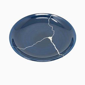 Tsukroi 3 Teller aus lackiertem Urushi Glas in Blau von Kazuyo Komoda für Hands On Design