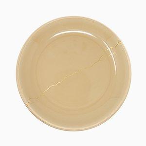 Tsukroi 1 Beige Urushi Lacquered Glass Plate by Kazuyo Komoda for Hands On Design