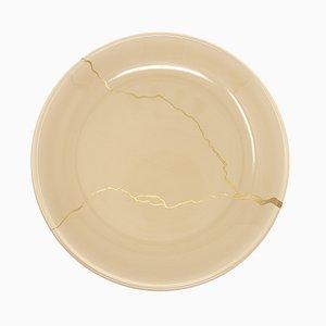 Tsukroi 2 Beige Urushi Lacquered Glass Plate by Kazuyo Komoda for Hands On Design