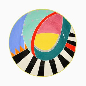 Plat Postmoderne en Céramique par Susan Eslick, 1988
