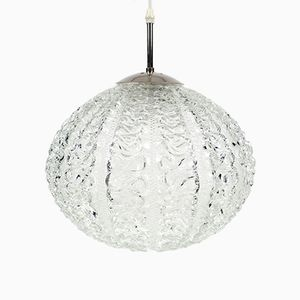 French Glass Pendant Lamp, 1960s
