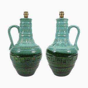 Große deutsche Tischlampen aus glasierter Keramik, 1960er, 2er Set