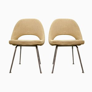 Chaises de Salle à Manger avec Pieds en Chrome par Eero Saarinen pour Knoll International, 1960s, Set de 2