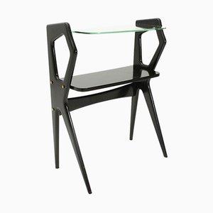 Table Console Moderniste en Bois avec Dessus en Verre, 1950s