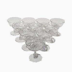 Coupes à Champagne Modèle Champigny de Cristallerie Baccarat, 1920s, Set de 10