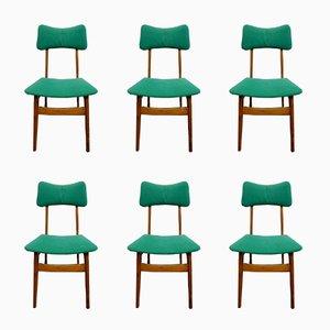Scandinavian Green Velvet Dining Chairs, 1950s, Set of 6
