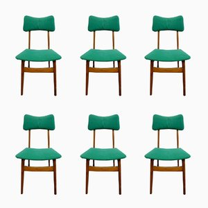 Skandinavische Esszimmerstühle aus grünem Samt, 1950er, 6er Set
