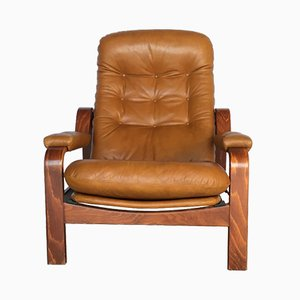 Swedish Leather Lounge Chair from Göte Möbler, 1970s