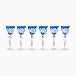 Verres à Vin en Cristal de Val Saint Lambert, 1960s, Set de 6