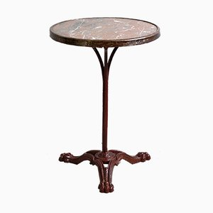 Antique Louis Philippe Style Bistro Table with Marble Top and Lion's Claw Feet