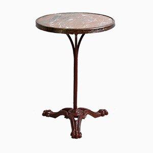 Table de Bistro Antique Style Louis Philippe avec Plateau en Marbre & Pieds de Lion