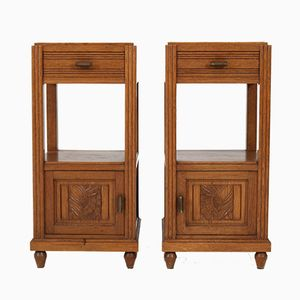 French Art Deco Nightstands in Oak with Marble Tops, 1930s, Set of 2