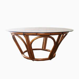 Table Basse en Teck, Bamboo & en Verre, 1970s
