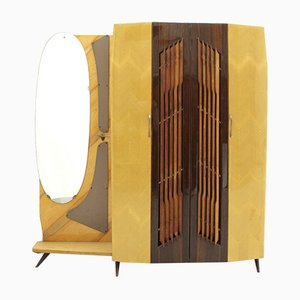 Italian Armoire with Mirror & Coat Hanger, 1950s