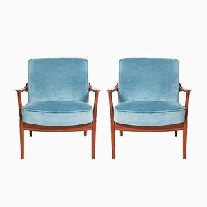 Blue Velvet Easy Chairs by Tove & Edvard Kindt-Larsen for France & Søn, 1958, Set of 2