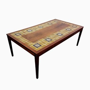 Large Danish Rosewood & Tile Coffee Table by Severin Hansen for Haslev, 1960s