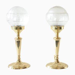 Glas Tischlampen mit ovalen Sockeln, 1900er, 2er Set