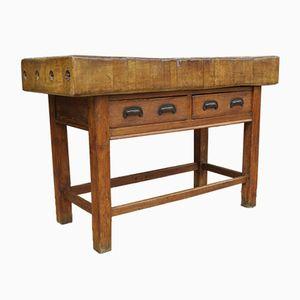 Antiker englischer Metzgerei Tisch aus Bergahorn