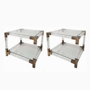 French Lucite & Gilt Brass Side Tables, 1970s, Set of 2