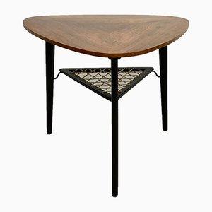 Mid-Century Danish Triangular Rosewood Coffee Table with Rack
