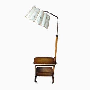 Beistelltisch mit Lampe auf Rädern, 1950er