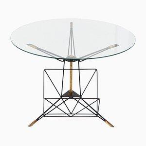 Runder italienischer Couchtisch im modernen Stil mit Rahmen aus Eisen & Messing, 1950er