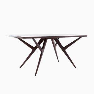 Italian Mahogany & Glass Dining Table, 1950s