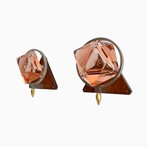 Italian Pink Murano Glass Sconces, 1960s, Set of 2