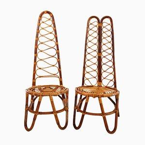 Chaises en Rotin, 1970s, Set de 6