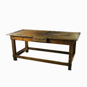 Industrial Carpenters' Work Table in Pitch Pine, 1970s