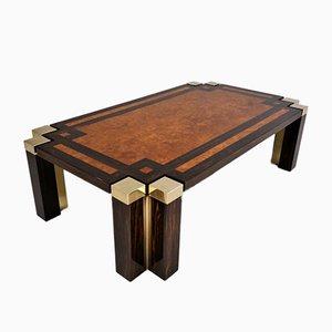 Table Basse Vintage en racine de Noyer & Laiton par Jean Claude Mahey