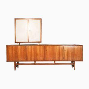 Nussholz Sideboard mit Aufsatz, 1950er