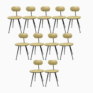 Industrial Dining Chairs, 1960s, Set of 11