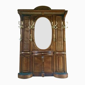 Antique French Walnut Hall Stand, 1890s