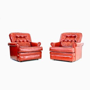 Vintage Oxblood Leather Club Chairs, Set of 2