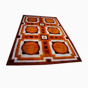 Deutscher Vintage Teppich in orangefarbener Wolle, 1960er