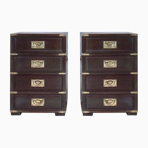 Vintage Campaign Chests of Drawers, Set of 2