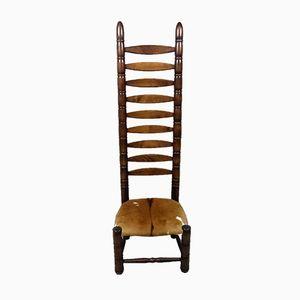 Beistellstuhl mit hoher Rückenlehne, 1960er