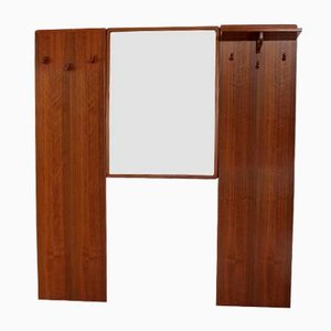 Vintage Teak Coat Rack and Mirror Set, 1960s