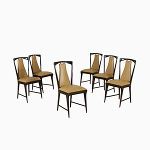 Mid-Century Stained Wood Dining Chairs by Osvaldo Borsani, Set of 6