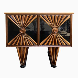 Französisches Art Deco Sideboard aus Palisander & ebonisiertem Holz, 1930er