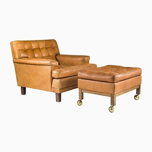 Mid-Century Swedish Merkur Lounge Chair & Ottoman by Arne Norell