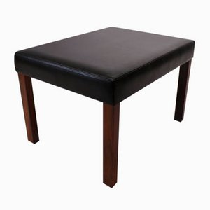 Danish Black Leather Stool with Rosewood Legs, 1960s